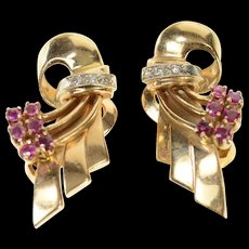 14K 1930's Ruby Diamond Ribbon Floral Clip Back Earrings Yellow Gold [CQXS]