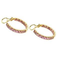 14K Pink Tourmaline Inside Outside Statement Hoop Earrings Yellow Gold [CQXS]