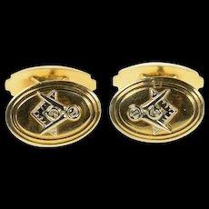 10K Masonic Compass Square Oval Retro Cuff Links Yellow Gold [CQXS]