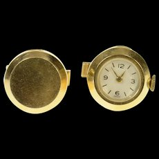 14K Retro Ornate Watch Face Statement Cuff Links Yellow Gold [CQXS]