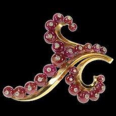 14K Ruby Diamond Floral Statement Swirl Pin/Brooch Yellow Gold [CQXS]