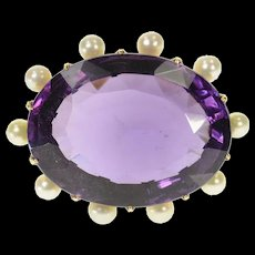 18K Oval Amethyst Pearl Halo Victorian Statement Pin/Brooch Yellow Gold [CQXS]