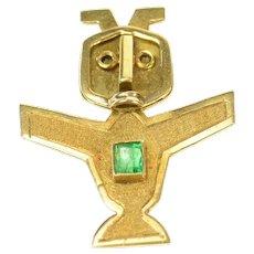 18K Peruvian Figurine Emerald Inset Statement Pin/Brooch Yellow Gold [CQXS]
