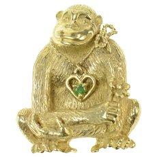 14K Chimpanzee Emerald Heart Necklace Flower Pin/Brooch Yellow Gold [CQQX]