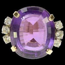 14K 22 Ctw Amethyst Diamond Cocktail Statement Ring Size 7.5 Yellow Gold [CQXS]