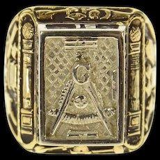 10K Masonic AF & AM Warren Ornate Signet Ring Size 8.75 Yellow Gold [CQXS]
