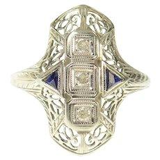 18K Art Deco Diamond Sapphire Filigree Engagement Ring Size 6.5 White Gold [CQXS]