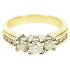14K 0.82 Ctw Classic Diamond Engagement Ring Size 7 Yellow Gold [CQXS]