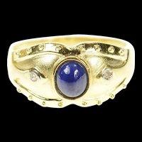 14K Oval Sapphire Diamond Accent Statement Ring Size 8.25 Yellow Gold [CQXS]