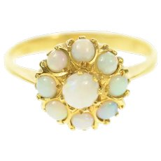 18K Retro Opal Halo Cluster Engagement Ring Size 8.5 Yellow Gold [CQXS]