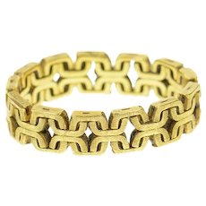 14K Ornate Squared Fancy Chain Statement Band Ring Size 8.25 Yellow Gold [CQXS]