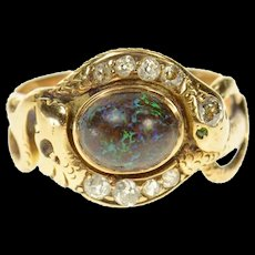 14K Victorian Boulder Opal Diamond Snake Serpent Ring Size 7 Yellow Gold [CQXS]
