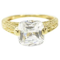 14K Cushion Solitaire Ornate Travel Engagement Ring Size 8.25 Yellow Gold [CQXS]