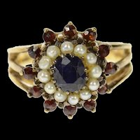 14K Sapphire Pearl Garnet Halo Victorian Cocktail Ring Size 5.5 Yellow Gold [CQXS]
