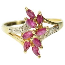 10K Marquise Ruby Cluster Diamond Accent Ring Size 6 Yellow Gold [CQXS]