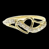 10K Wavy Heart Design CZ Love Promise Band Ring Size 8.25 Yellow Gold [CQXS]