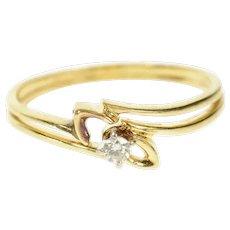 14K Retro Classic Diamond Engagement Bridal Set Ring Size 8.5 Yellow Gold [CQXS]