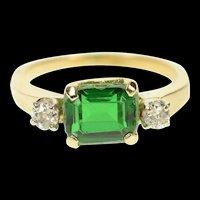 14K Emerald Cut Sim. Emerald Diamond Classic Ring Size 5.5 Yellow Gold [CQXS]