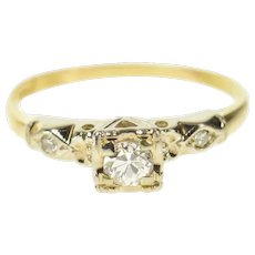 14K 1940's Classic Diamond Squared Engagement Ring Size 4.75 Yellow Gold [CQXS]