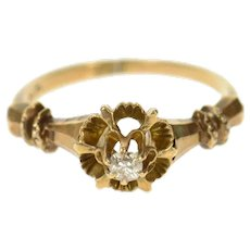 10K Victorian Diamond Solitaire Ornate Engagement Ring Size 4.5 Yellow Gold [CQXS]