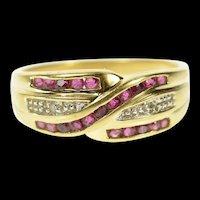 14K Wavy Ruby Diamond Accent Statement Band Ring Size 7 Yellow Gold [CQXS]