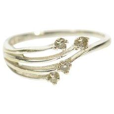 14K Fanned Diamond Layered Design Band Ring Size 7.25 White Gold [CQXS]