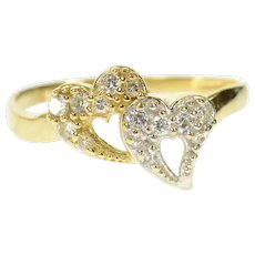 10K Two Tone Pave Diamond Heart Love Promise Ring Size 8.75 Yellow Gold [CQXS]