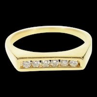 14K Squared Diamond Wedding Band Stackable Ring Size 8.25 Yellow Gold [CQXS]