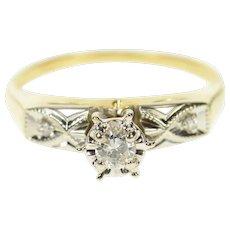 14K Three Stone Diamond Promise Engagement Ring Size 4.75 Yellow Gold [CQXS]