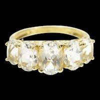 10K Five Stone Graduated Oval Statement Ring Size 5.75 Yellow Gold [CQXS]