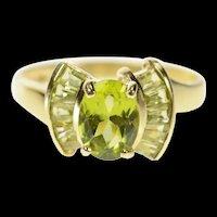 10K Oval Peridot Semi Halo Statement Ring Size 8.25 Yellow Gold [CQXS]