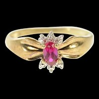 10K Oval Syn. Ruby Diamond Accent Classic Ring Size 5.75 Yellow Gold [CQXS]