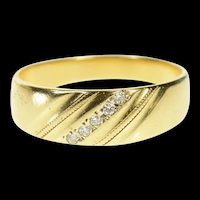 14K Classic Diamond Grooved Pattern Wedding Ring Size 8.25 Yellow Gold [CQXS]