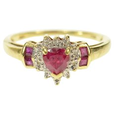 10K Heart Syn. Ruby Diamond Accent Love Ring Size 7.25 Yellow Gold [CQXS]