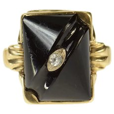 14K Carved Black Onyx Squared Statement Ring Size 7 Yellow Gold [CQXS]