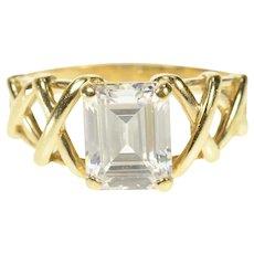 14K Emerald Cut Woven Design Travel Engagement Ring Size 8.75 Yellow Gold [CQXS]