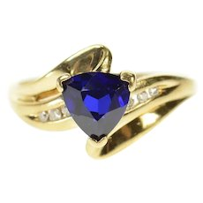 10K Trillion Syn. Sapphire Diamond Accent Bypass Ring Size 6.75 Yellow Gold [CQXS]