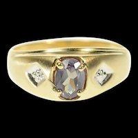 10K Oval Sim. Alexandrite Diamond Men's Ring Size 9.75 Yellow Gold [CQXS]