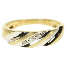 10K Diamond Classic Two Tone Wedding Band Ring Size 8 Yellow Gold [CQXS]
