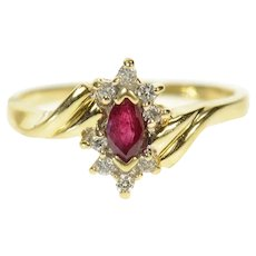 14K Marquise Ruby Diamond Halo Bypass Ring Size 5.5 Yellow Gold [CQXS]