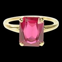 14K 1940's Classic Syn. Ruby Emerald Cut Cocktail Ring Size 5.5 Yellow Gold [CQXS]