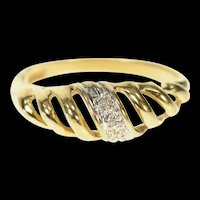 10K Rounded Diamond Domed Stackable Band Ring Size 5.5 Yellow Gold [CQXS]
