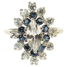 14K Marquise Sim. Sapphire Halo Travel Engagement Ring Size 6.25 White Gold [CQXS]