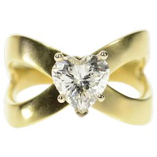 14K Heart Solitaire Criss Cross Travel Engagement Ring Size 9.25 Yellow Gold [CQXS]