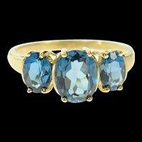 10K Three Stone London Blue Topaz Statement Ring Size 9.25 Yellow Gold [CQXS]