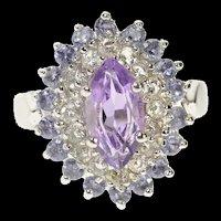 10K Marquise Amethyst CZ Syn. Tanzanite Halo Ring Size 5 White Gold [CQXS]