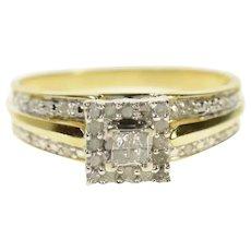 10K Princess Diamond Halo Squared Engagement Ring Size 6.75 Yellow Gold [CQXS]