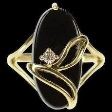 10K Oval Black Onyx Diamond Accent Leaf Design Ring Size 6.5 Yellow Gold [CQXS]