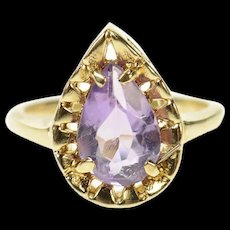 10K Pear Amethyst Solitaire Statement Cocktail Ring Size 2.5 Yellow Gold [CQXS]
