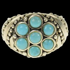 Sterling Silver Ornate Turquoise Cluster Elaborate Statement Ring Size 6.75  [CQXS]